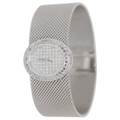 Wide and Heavy Ladies Diamond Wristwatch, 14 Karat White Gold