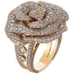 6.84 Carat Exquisite Diamond Pave Rose Ring in 18 Karat Pink Gold