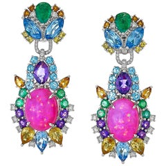 Pink Opal, Diamond, Emerald, Sapphire, Topaz and Citrine Starburst Earring