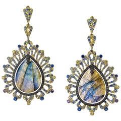 55.76 Carat Labradorite Colored Sapphire and Black Diamond Earring