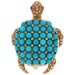 Turtle Turquoise 14 Karat Yellow Gold Diamonds Brooch