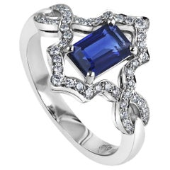 KATA 0.92 Carat Emerald Cut Deep Blue Sapphire and Diamond Platinum Ring