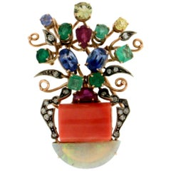 Coral Vase 14 Karat Yellow Gold Diamonds Opal Emerald Brooch