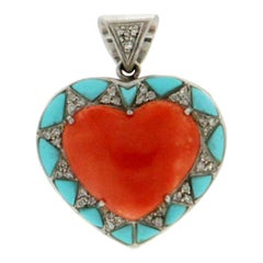 Coral Heart 18 Karat White Gold Turquoise Diamonds Pendant Necklace