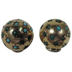 Pair of American 18 Karat Gold and Turquoise Starburst Ball Clip-On Earrings