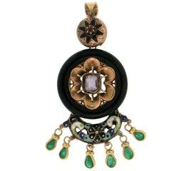 Enamel 14 Karat Yellow Gold Emerald and Onyx Pendant Necklace