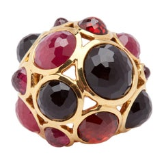 Ippolita 18 Karat Yellow Gold, Onyx, Tourmaline, Garnet and G.F. Ruby Ring