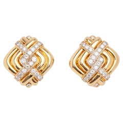 18 Karat Yellow Gold and Diamond Ear Clips