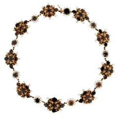 Garnet 14 Karat Yellow Gold Beads Choker Necklace