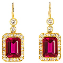 24 Karat Handcrafted Octagon Rubellite and Diamond Earrings