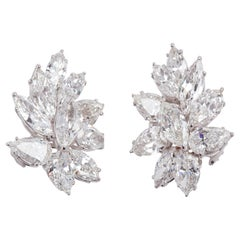 GIA Certified 20 Carat Platinum and Diamond Earrings by Louis Newman & Co