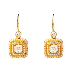 24 Karat Handcrafted Asscher Cut Diamond Solitaire Earrings