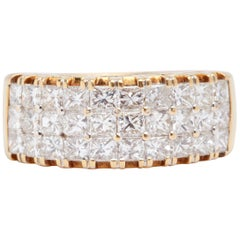 18 Karat Yellow Gold 3-Row Diamond Ring