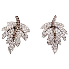 18 Karat White Gold Leaf Earring with White and Brown Diamonds
