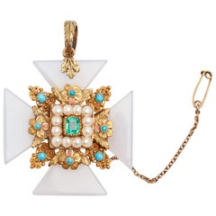 Double Sided Antique Maltese Cross Pendant/Brooch with Mixed Gems and Diamonds