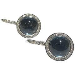 Mimi Shan Earrings in London Blue Topaz with Diamond Halo Drop Earrings