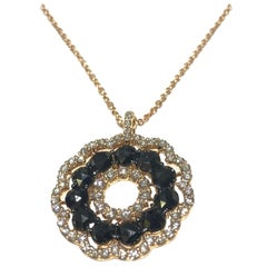 Crivelli Circle of Life Pendant Necklace with Black and White Diamonds