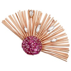 Rose Gold Ruby and Diamond Brooch