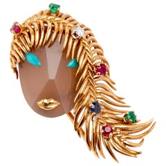 Ladies Face 18 Karat YG Ruby, Sapphire and Emerald Hardstone Turquoise Brooch
