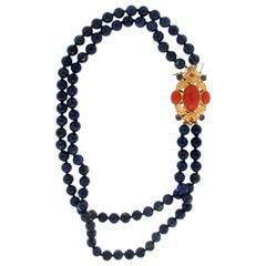 Lapis Lazuli 18 Karat Yellow Gold Coral Multi-Strand Necklace