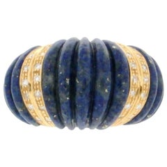 Lapis 18 Karat Yellow Gold Diamonds Cocktail Ring