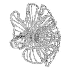 Fei Liu White Rhodium Large Size Ring With Cubic Zirconia