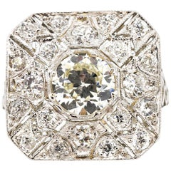 Antique Edwardian Platinum Old European Cut Diamond Square Panel Ring