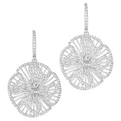 Fei Liu White Rhodium Stud Size Drop Earrings