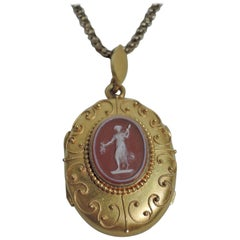 Antique American Classical Gold Cameo Locket and Chain