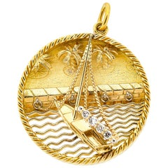 Midcentury 18 Karat Yellow Gold Sailboat Charm French by Gubelin