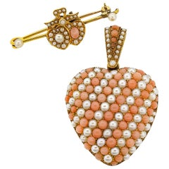 Antique Victorian 18 Karat Gold Coral Pearl Heart Locket Pendant Pin