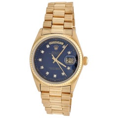 Rolex President Day-Date 18 Karat Gold Blue Diamond Dial Men's Watch 18038