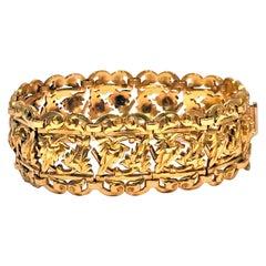 1930s 18 Karat Green Gold Pine Cone Bracelet
