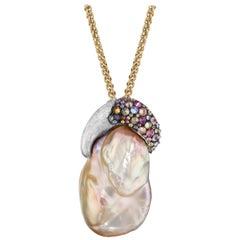 Naomi Sarna Diamond and Sapphire Peach Pearl Pendant