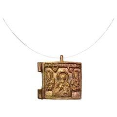 Late Medieval Bronze Icon Pendant with 3 Saints