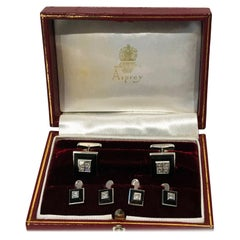 Asprey 18 Karat Onyx Diamond Tuxedo Studs Set