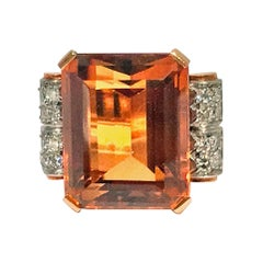 18 Karat Citrine and Diamond Ring