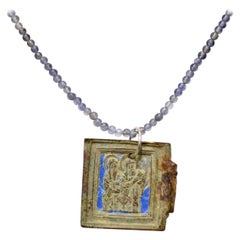 Late Medieval Enameled Bronze Icon Pendant with Saints