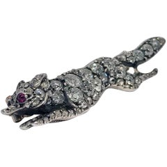Antique Diamond Running Fox Brooch, Continental, circa 1880