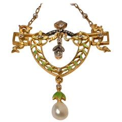 French Art Nouveau Gautrait 18 Karat Enamel Diamond Pearl Necklace