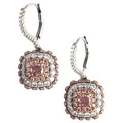 GIA Certified Natural Fancy Intense Pink Diamond Halo Earrings in 18 Karat Gold
