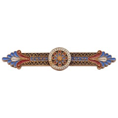 14 Karat Yellow Gold Red, White and Blue Enamel Bar Pin