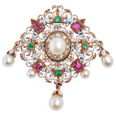 Natural Pearl, Ruby, Emerald and Enamel Pendant/Brooch
