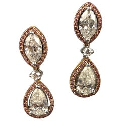 2.29 Carat Marquise and Pear Shape Diamond Halo Drop Earrings in 18 Karat Gold
