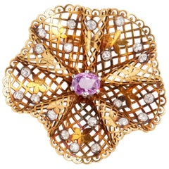 Gold Filligree Brooch with Pink Sapphire and Diamonds