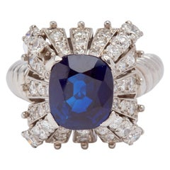 Platinum Mauboussin Sapphire and Diamond Ring