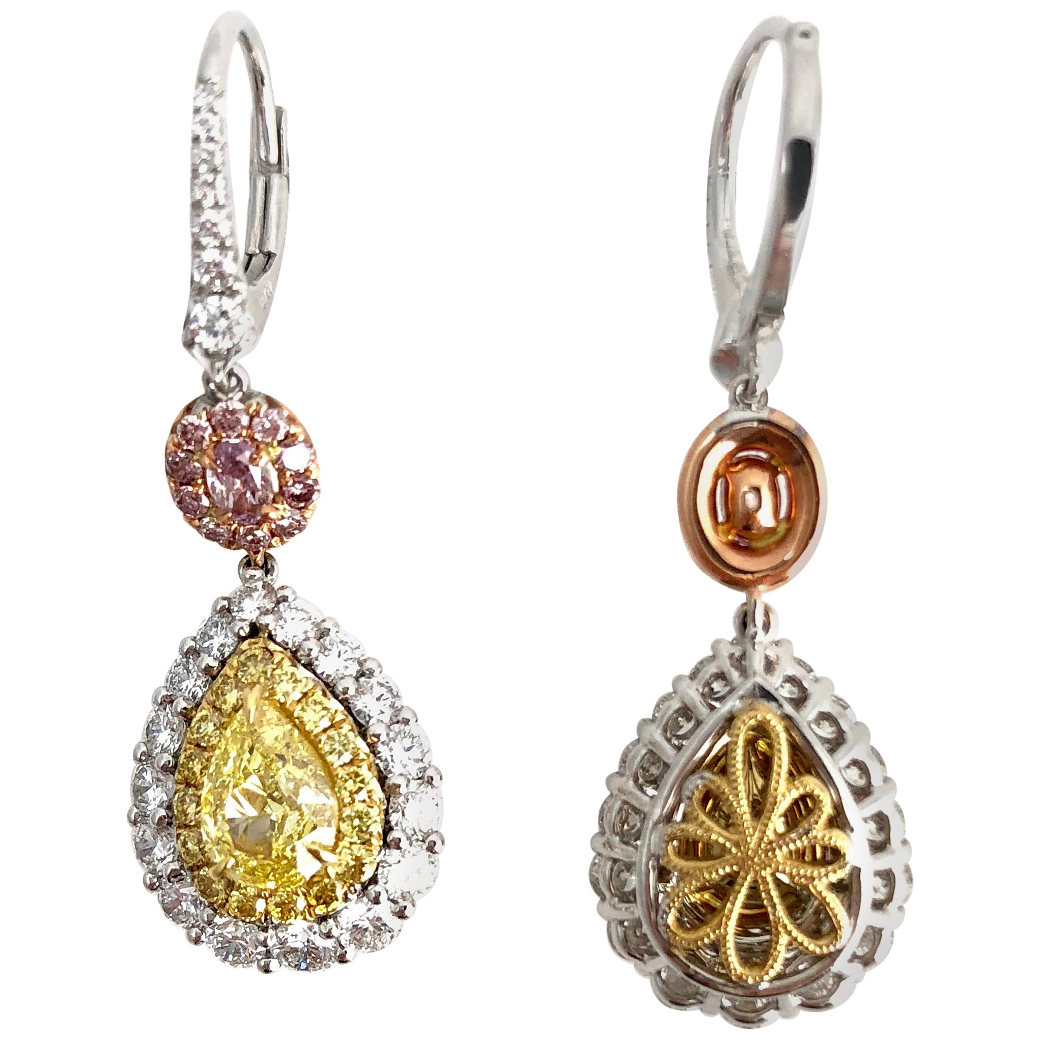 DiamondTown GIA Certified Natural Fancy Yellow and Pink Diamonds Earrings