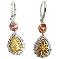 Pear Shape Natural Fancy Yellow Diamond Halo Lever Back Earrings in 18k Gold