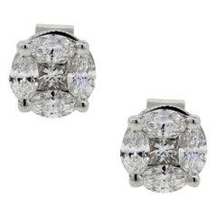 Princess Cut and Marquise Diamond Stud Earrings