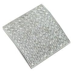 3.50 Carat Diamond 18 Karat White Gold Square Plaque Pendant